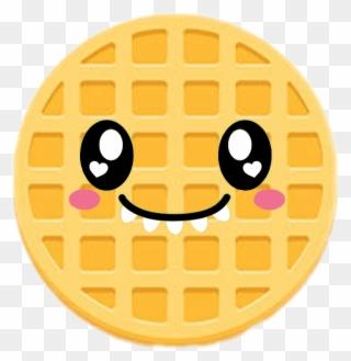 Waffle clipart circle. Cute emoji kawaiiwafflefreetoedit fofo