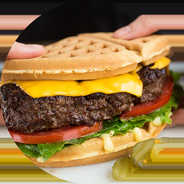 Waffle clipart heart shaped waffle. Wild chix waffles burger