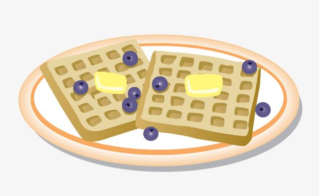 Waffle clipart plate. Cartoon waffles porcel png