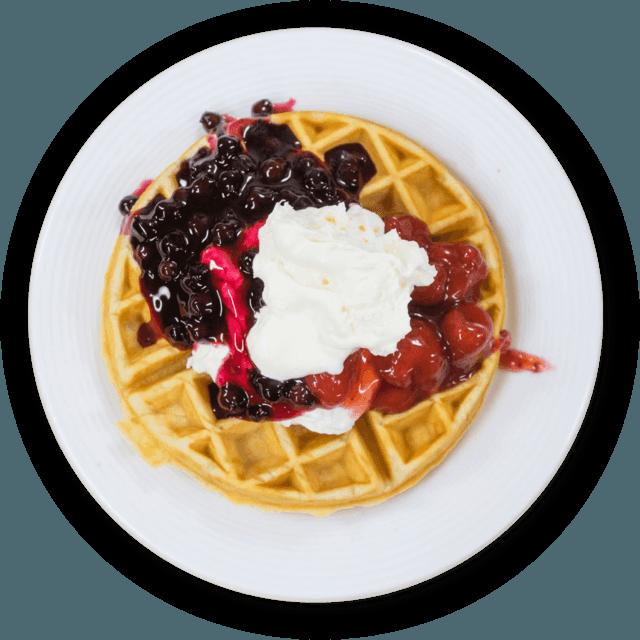 Menu the berry barn. Waffle clipart plate