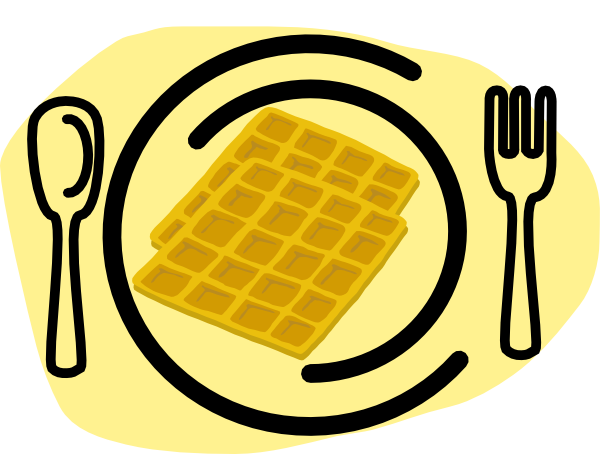 Fork clip art at. Waffle clipart plate