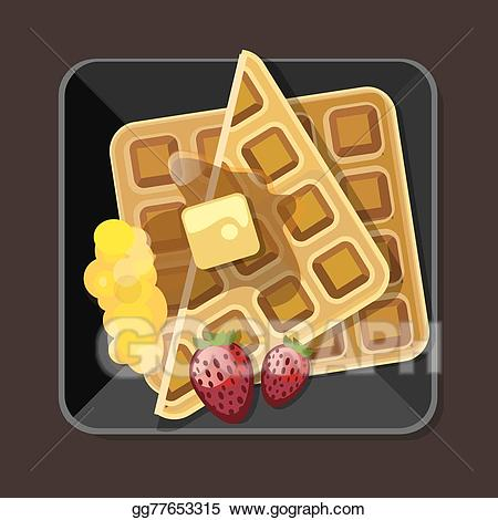 Vector art with syrup. Waffle clipart plate