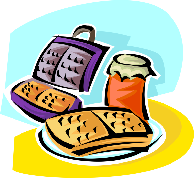 Breakfast with fruit vector. Waffle clipart toaster
