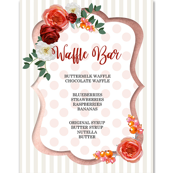 Sign with floral and. Waffle clipart waffle bar