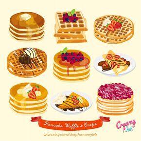 Waffle clipart wafle. Pancakes digital clip art