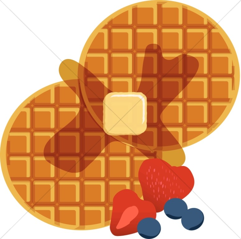Waffles with syrup church. Waffle clipart wafle