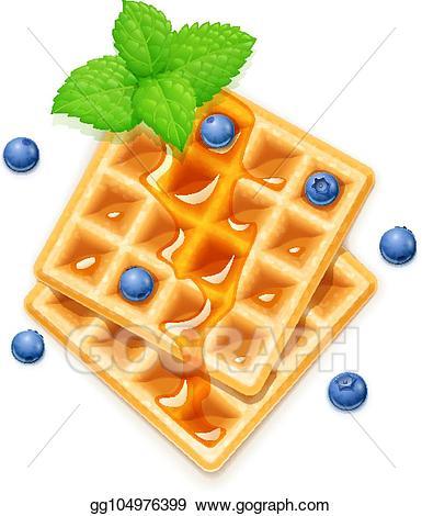 Waffle clipart yellow. Vector belgian blueberries honey