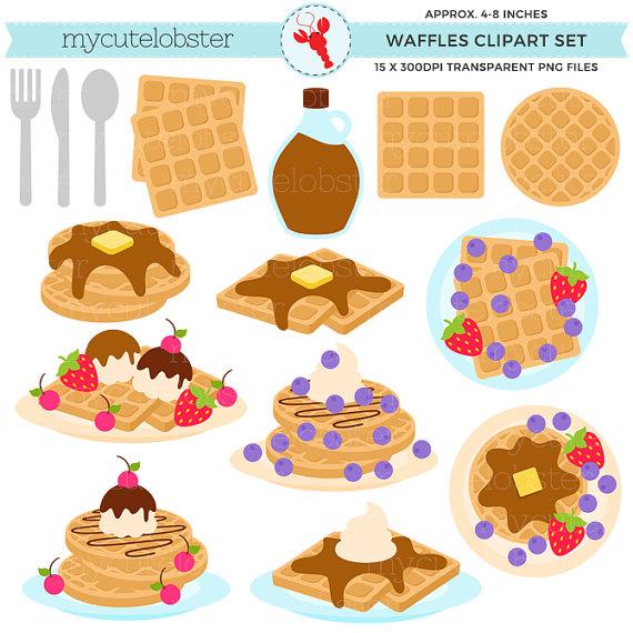 Waffles clipart. Set breakfast food waffle