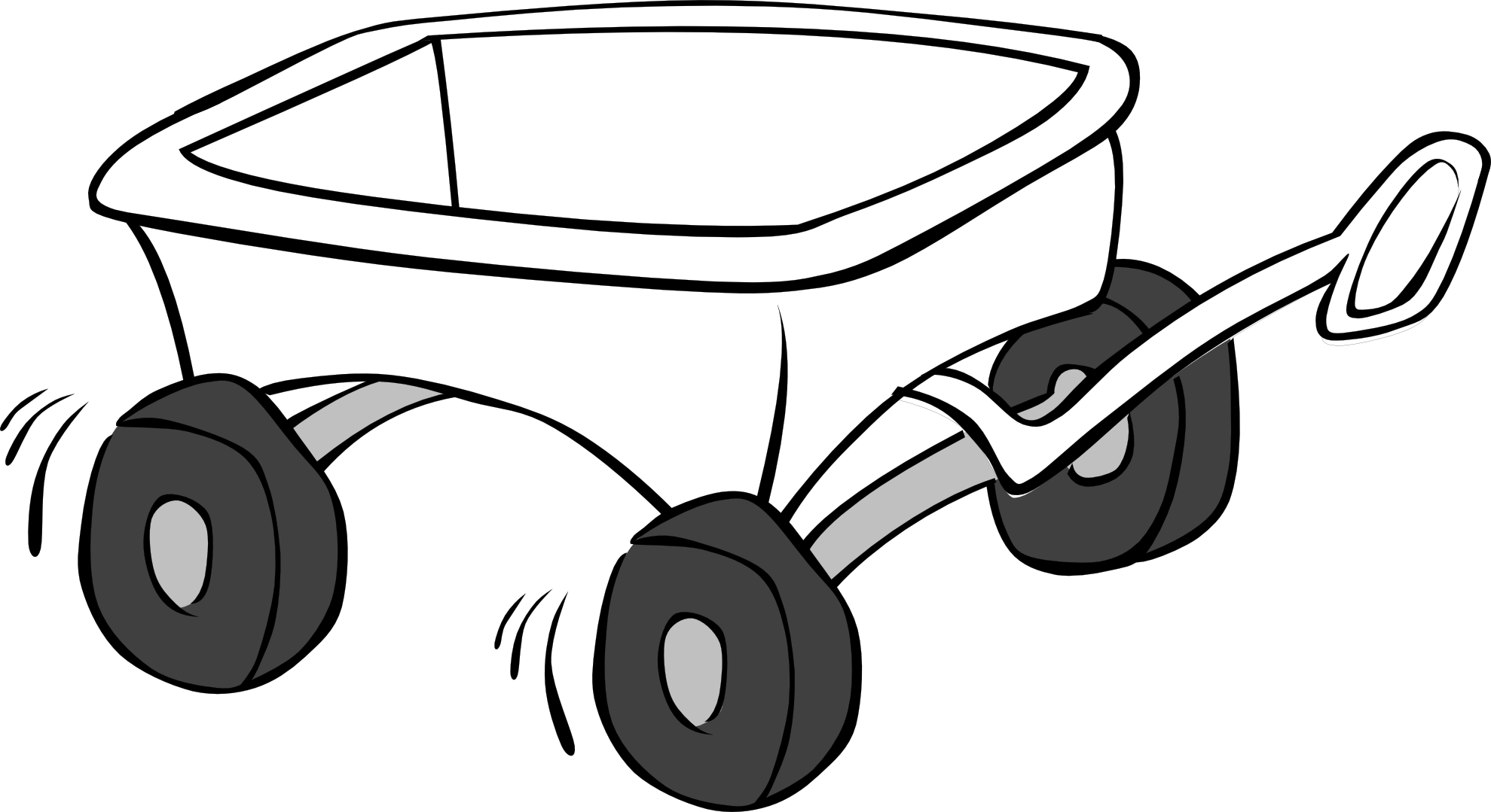 Wagon clipart. Black and white panda