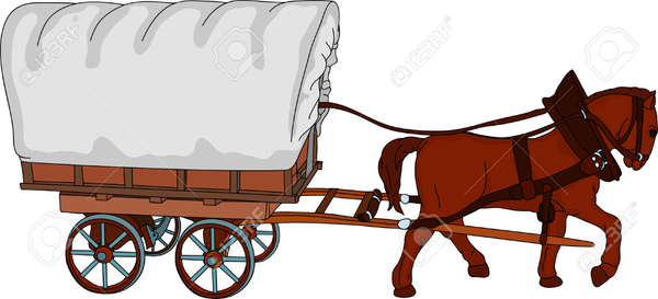 Wagon clipart. Horse and covered free