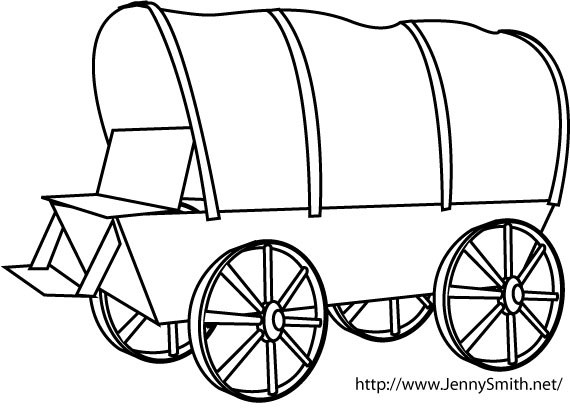 Wagon clipart. Pioneer covered