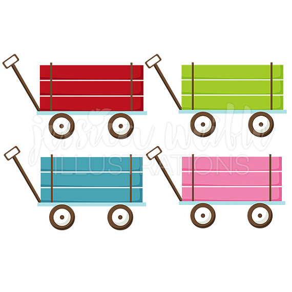 Wagon clipart. Pull cute digital clip