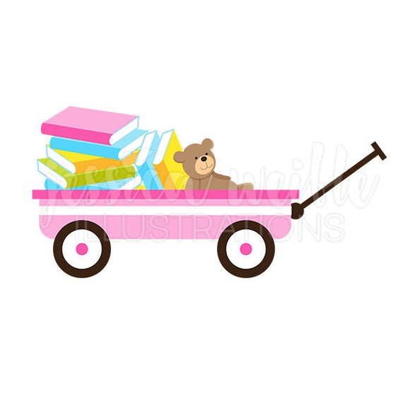 Wagon clipart baby. Pink of books cute