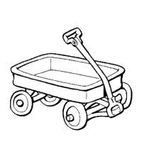 Red portal . Wagon clipart black and white