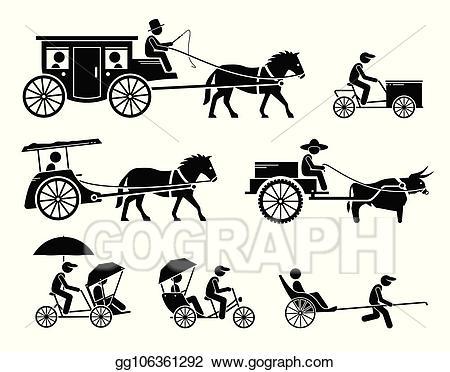 Vector art set of. Wagon clipart bullock cart