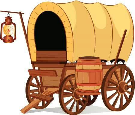 Coboy western covered art. Wagon clipart caravan