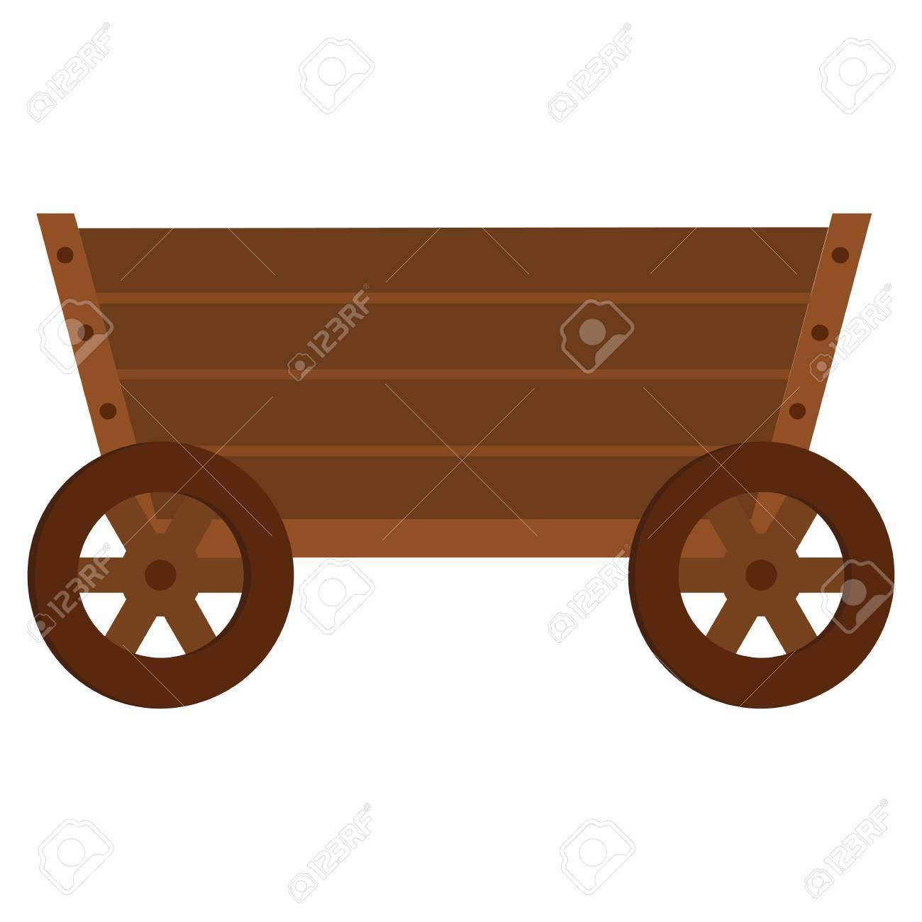 Wooden cart flat icon. Wagon clipart cartoon