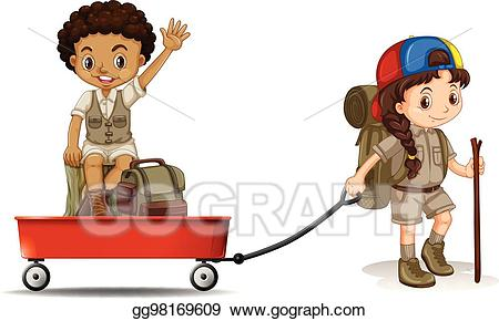 Vector stock girl pulling. Wagon clipart different student