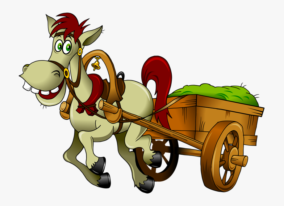 Christmas cartoon horse and. Wagon clipart donkey cart