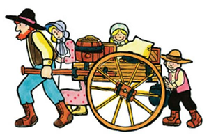 Wagon clipart hand cart. Handcart pioneers free images