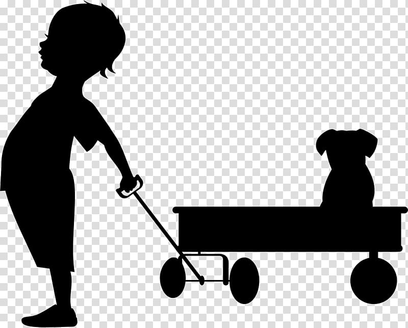 Wagon clipart kid wagon. Child silhouette transparent background