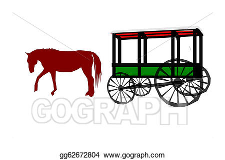 Vector art horse drawn. Wagon clipart old carriage