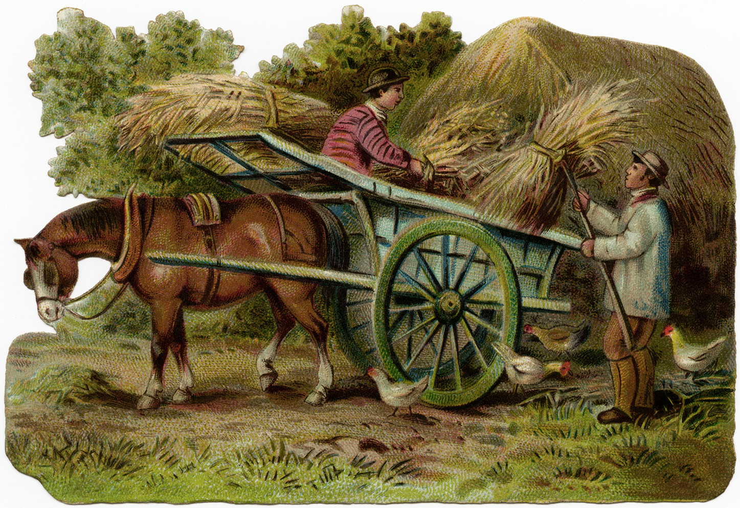 Victorian farmers loading hay. Wagon clipart old time