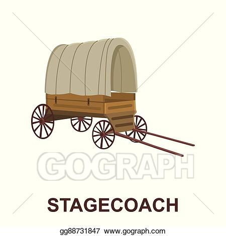 Eps illustration cowboy icon. Wagon clipart old west