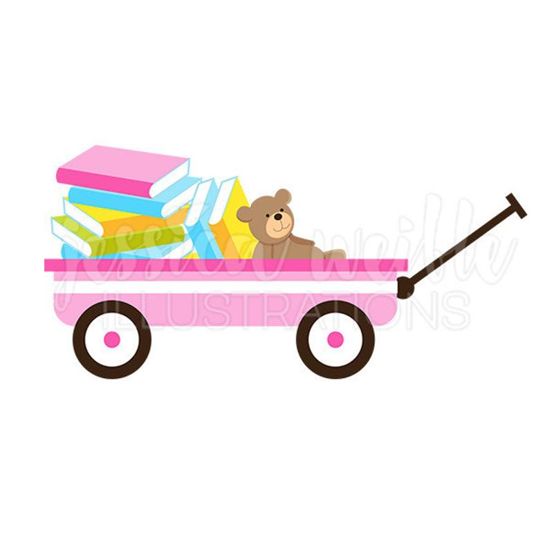 Pink of books cute. Wagon clipart outdoor child