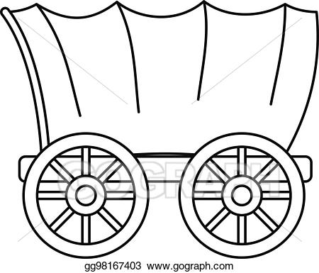 Vector art ancient western. Wagon clipart outline