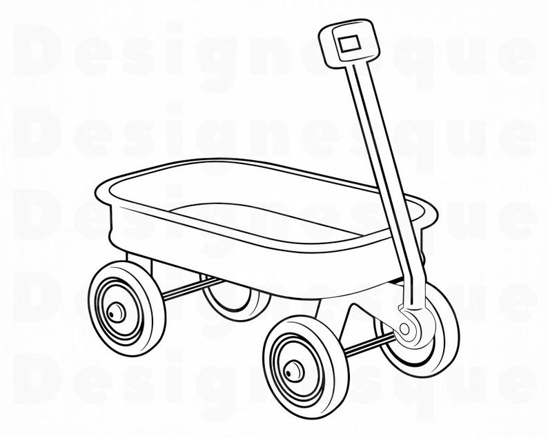 Wagon clipart outline. Child s svg kid