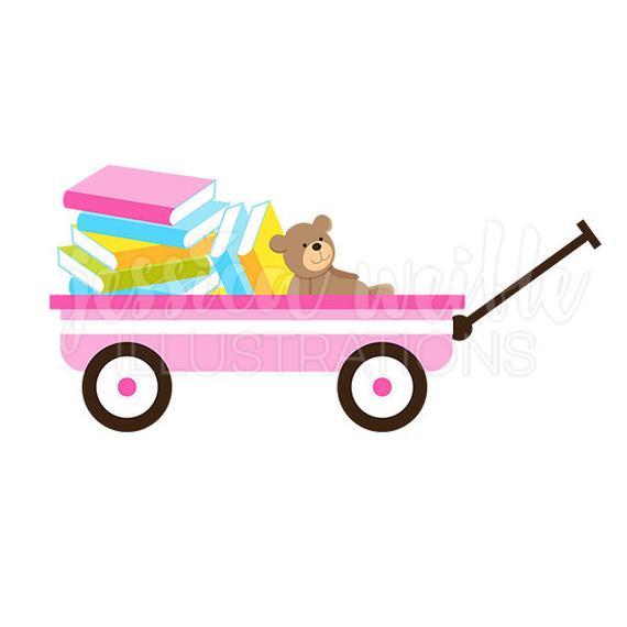 Of books cute digital. Wagon clipart pink