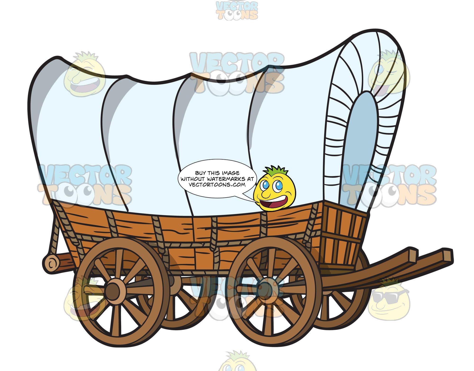 Wagon clipart prairie schooner. A