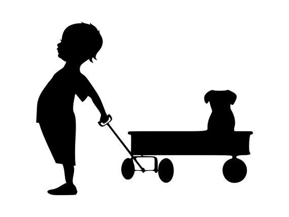 Boy svg dog puppy. Wagon clipart printable