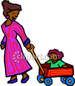 Wagon clipart pulled. A woman pulling child
