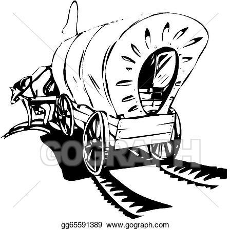 Wagon clipart settler. Vector train illustration gg