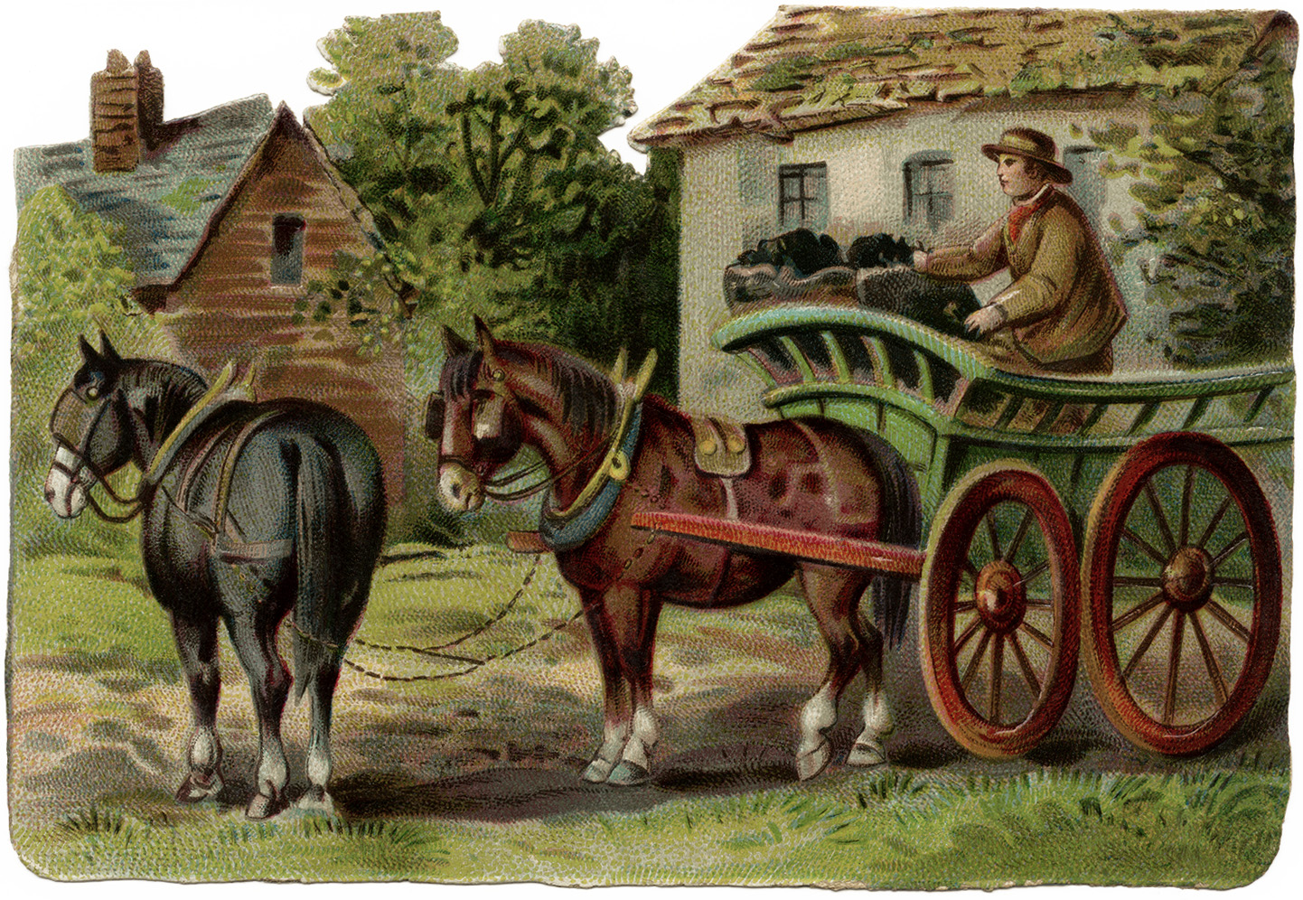 Horse drawn coal old. Wagon clipart victorian