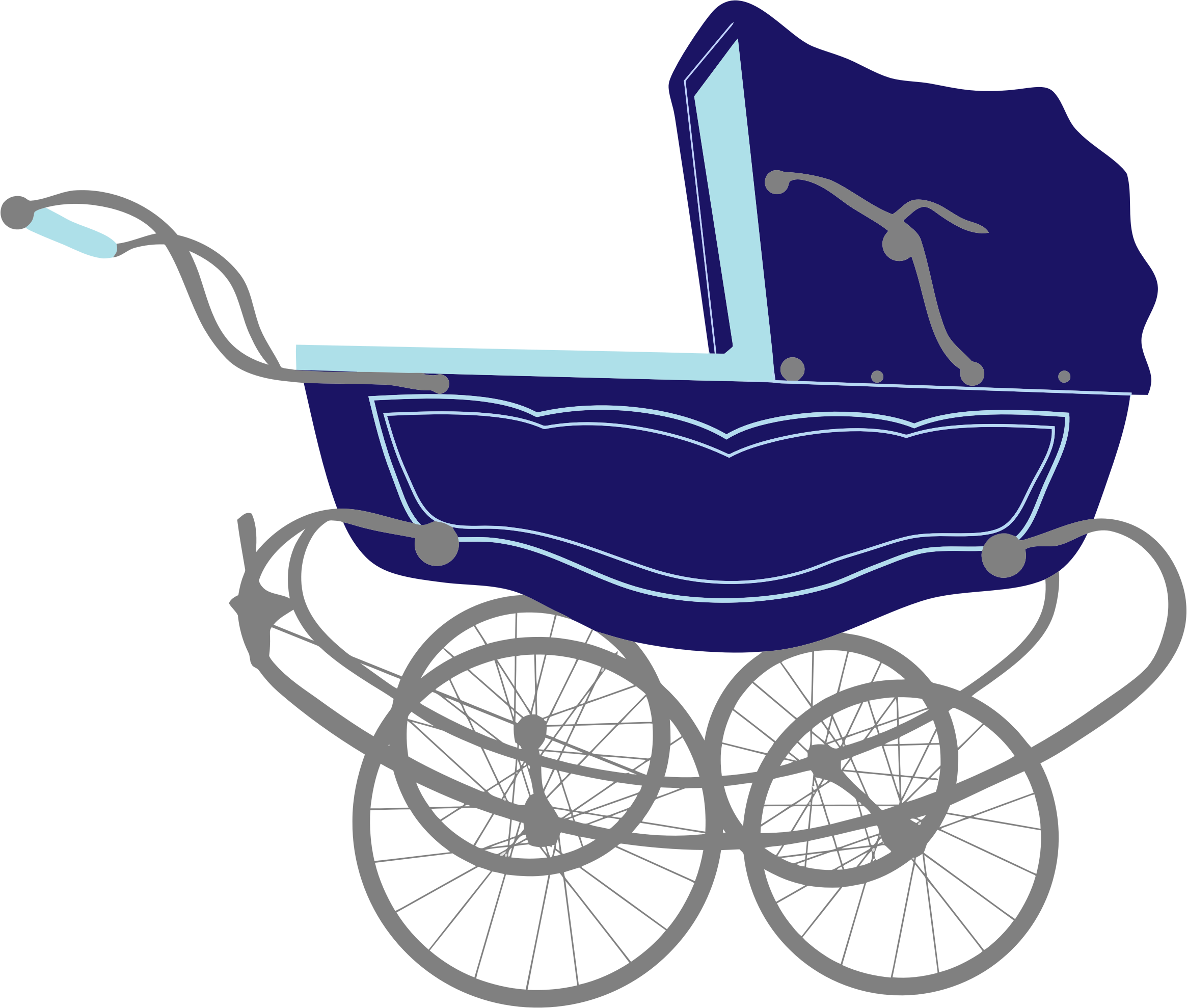 Blue baby stroller carriage. Wagon clipart vintage