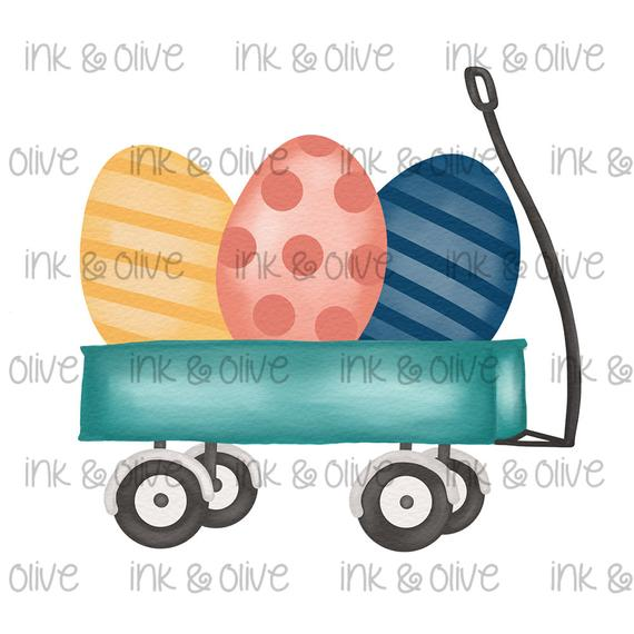 Watercolor png easter bunny. Wagon clipart vintage