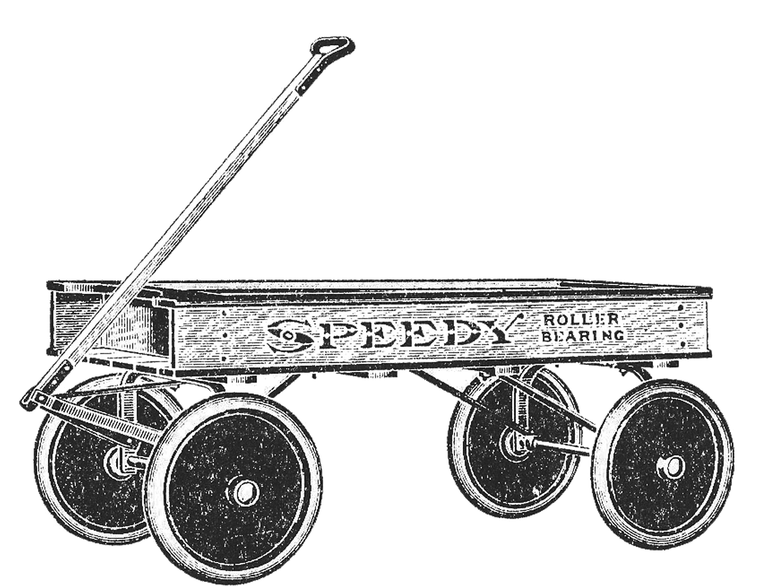 Toys black and white. Wagon clipart vintage