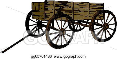 Wagon clipart vintage. Eps vector wooden cart