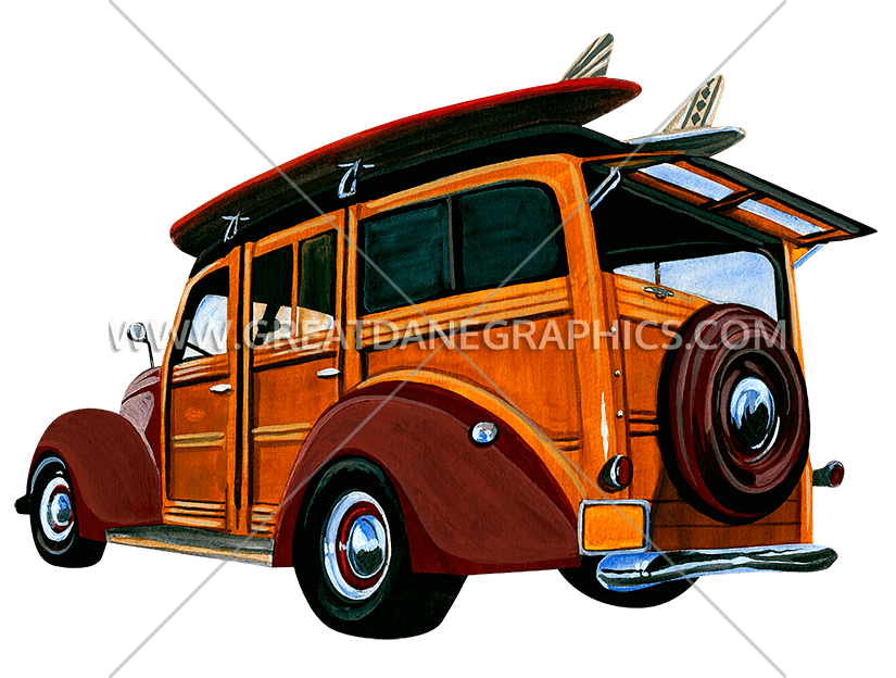 Wagon clipart vintage. Woody surf production ready