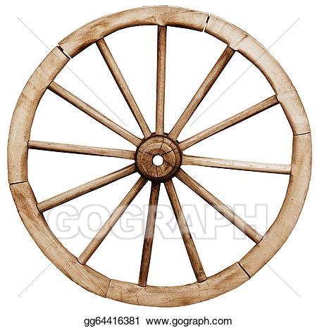 Wheel clipart drawing. Big vintage rustic wagon