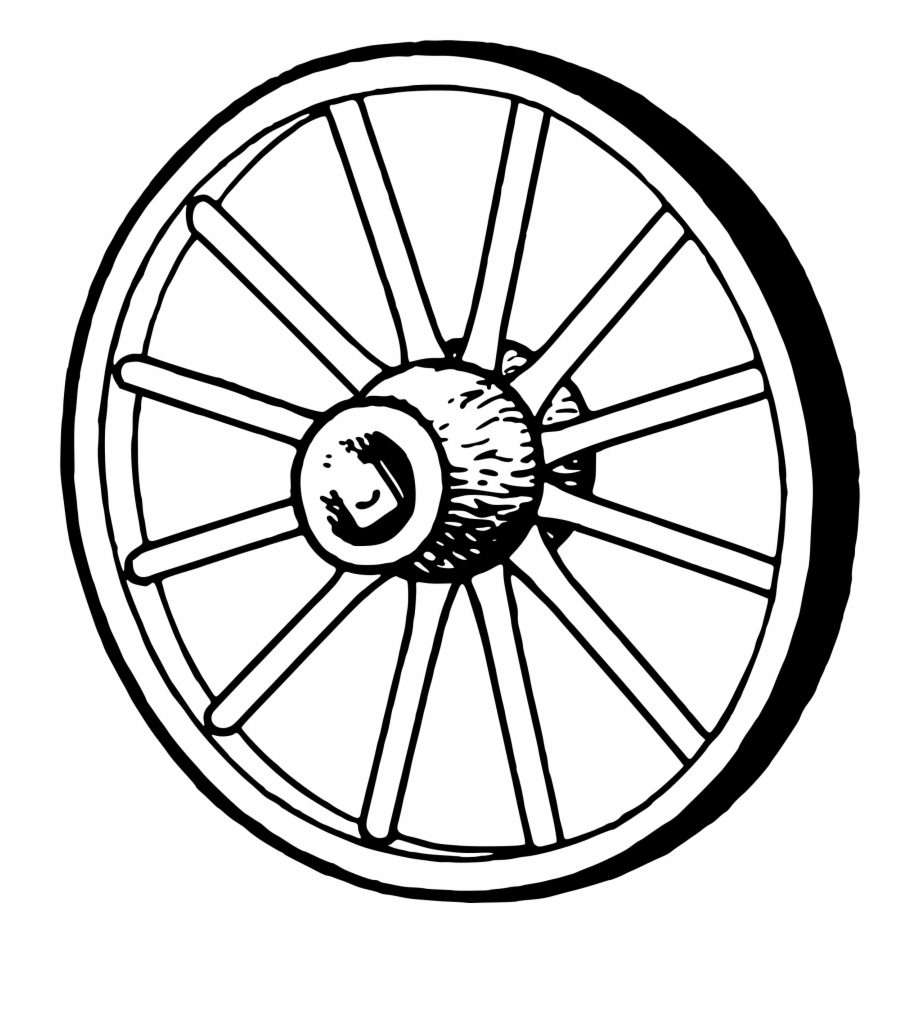 Black and white . Wheel clipart wagon wheel