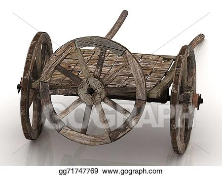 Wagon clipart wheel cart. Stock illustration old with