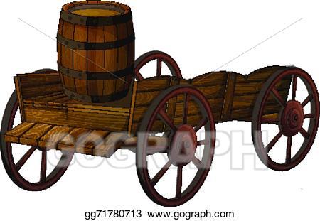 Vector barrel and illustration. Wagon clipart wood cart