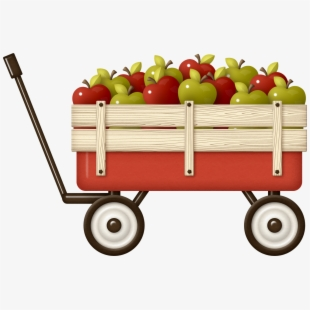 Wagon clipart wood cart. Harvest of apples