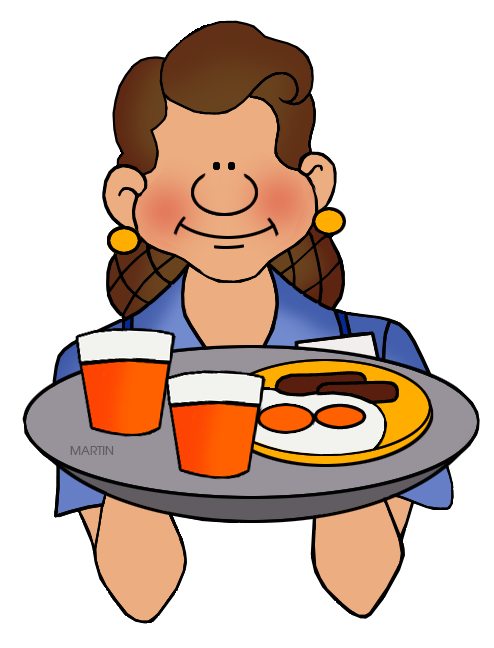 Waitress clipart. Occupations clip art by
