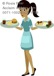 Illustration of a taking. Waitress clipart