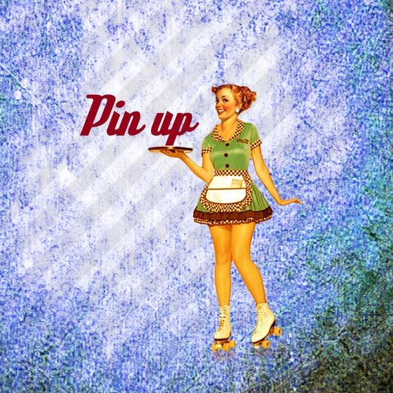 Pin up clip art. Waitress clipart 50's